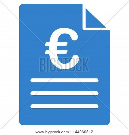 Euro Document icon. Vector style is flat iconic symbol with rounded angles, cobalt color, white background.