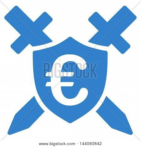 Euro Guard Shield icon. Vector style is flat iconic symbol with rounded angles, cobalt color, white background.