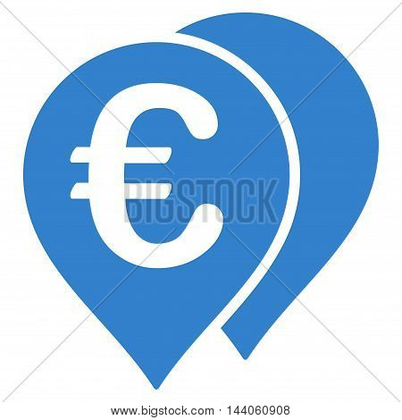 Euro Map Markers icon. Vector style is flat iconic symbol with rounded angles, cobalt color, white background.