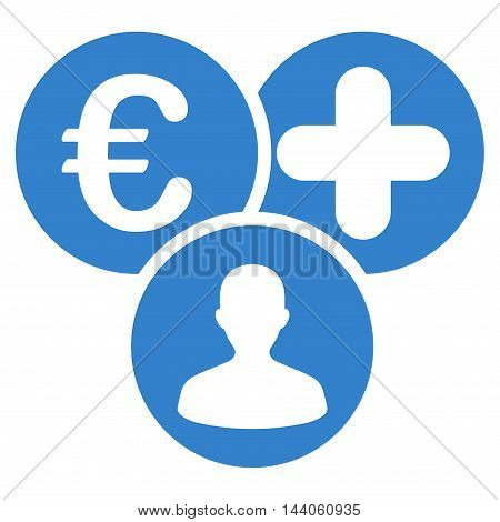 Euro Medical Expences icon. Vector style is flat iconic symbol with rounded angles, cobalt color, white background.