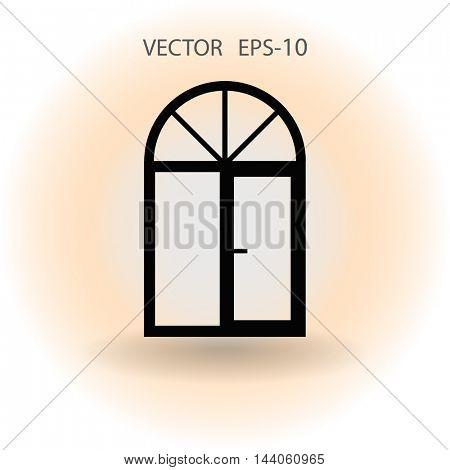 Flat long shadow Window icon, vector illustration