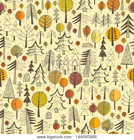 Autumn. Seamless pattern with forest, autumn background for web and graphic design, textile.