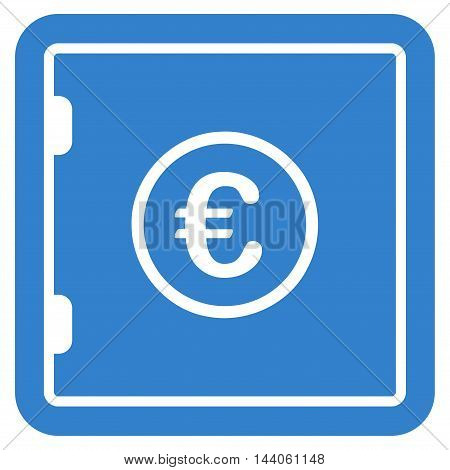 Euro Safe icon. Vector style is flat iconic symbol with rounded angles, cobalt color, white background.