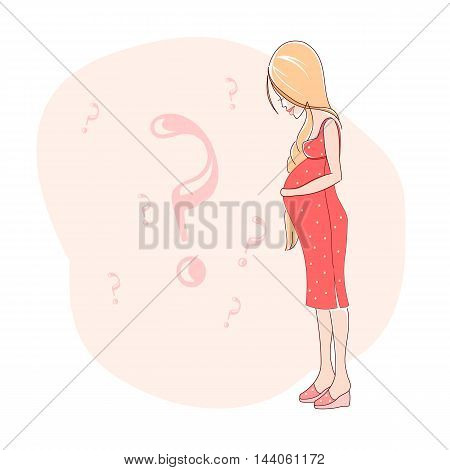 Illustration of pregnant woman in expectation of the baby.