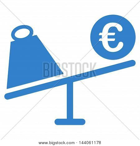 Euro Trade Swing icon. Vector style is flat iconic symbol with rounded angles, cobalt color, white background.