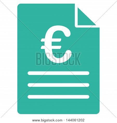 Euro Document icon. Vector style is flat iconic symbol with rounded angles, cyan color, white background.