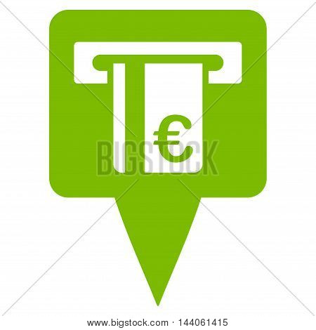 Euro Atm Pointer icon. Vector style is flat iconic symbol with rounded angles, eco green color, white background.