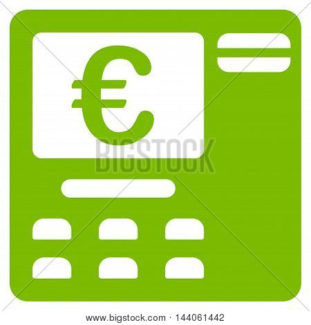 Euro Atm icon. Vector style is flat iconic symbol with rounded angles, eco green color, white background.