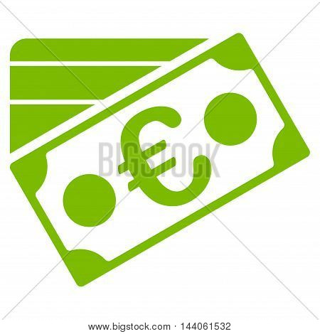 Euro Banknote and Credit Card icon. Vector style is flat iconic symbol with rounded angles, eco green color, white background.
