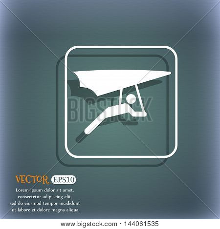 Hang-gliding Icon. On The Blue-green Abstract Background With Shadow And Space For Your Text. Vector