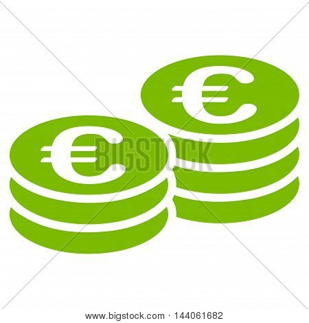 Euro Coin Stacks icon. Vector style is flat iconic symbol with rounded angles, eco green color, white background.