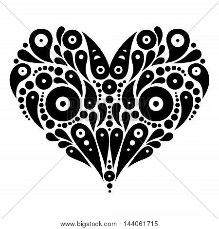 Decorative heart tattoo. Black and white logo design