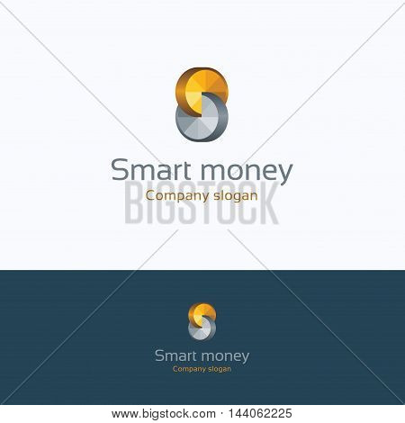 S letter alphabet coin smart logo S letter alphabet infinity coin edge shadow facet growth logotype