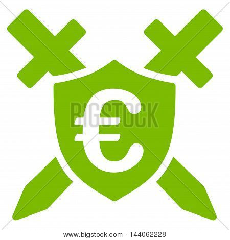 Euro Guard Shield icon. Vector style is flat iconic symbol with rounded angles, eco green color, white background.