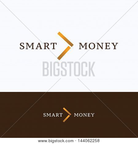 Arrow coins direction smart logo edge shadow angle facet vector logotype