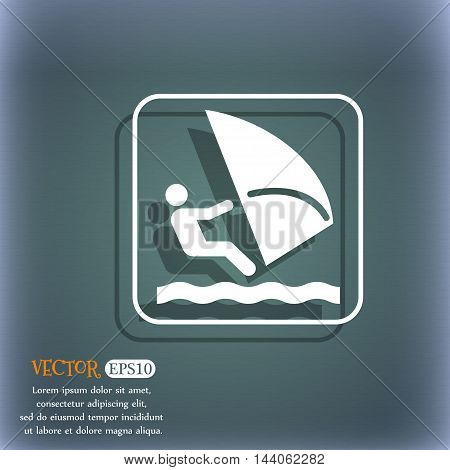 Windsurfing Icon. On The Blue-green Abstract Background With Shadow And Space For Your Text. Vector