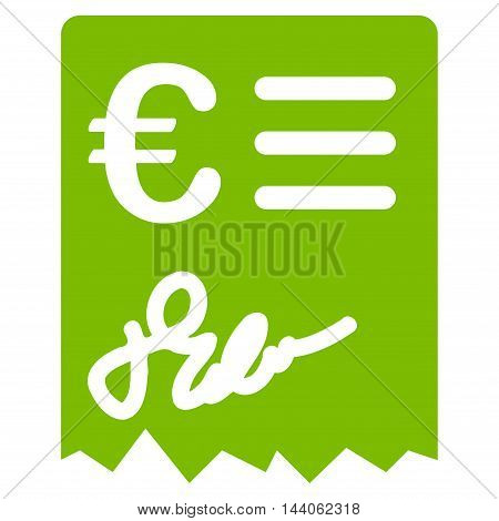 Euro Invoice icon. Vector style is flat iconic symbol with rounded angles, eco green color, white background.