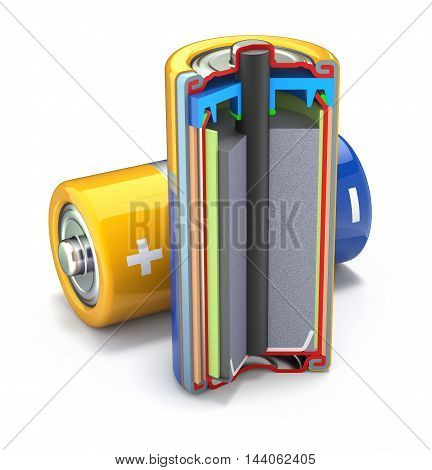 Cross section of dry cell battery on white background - 3D illustration