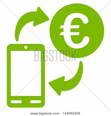 Euro Mobile Exchange icon. Vector style is flat iconic symbol with rounded angles, eco green color, white background.