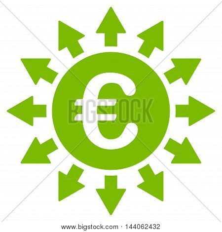 Euro Payments icon. Vector style is flat iconic symbol with rounded angles, eco green color, white background.