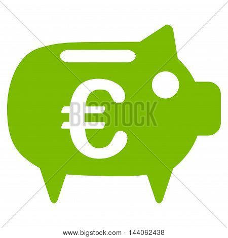 Euro Piggy Bank icon. Vector style is flat iconic symbol with rounded angles, eco green color, white background.