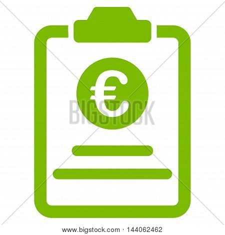 Euro Prices Pad icon. Vector style is flat iconic symbol with rounded angles, eco green color, white background.