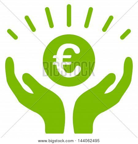 Euro Prosperity icon. Vector style is flat iconic symbol with rounded angles, eco green color, white background.