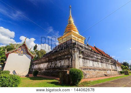 Golden Pagoda in Nan Province. North of Thailand.