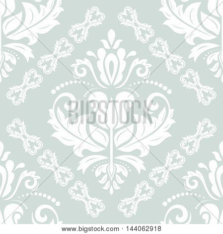 Damask vector classic ight blue and white pattern. Seamless abstract background with repeating elements