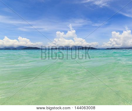 Water ocean and blue sky background. Clear blue ripple aqua texture