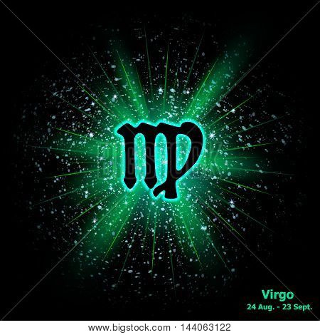Zodiac Sign Virgo On Cosmic Explosion Background.