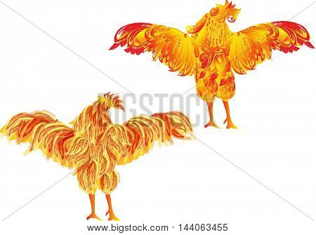 illustration with two red flame roosters as animal symbol of Chinese New year 2017 isolated on white background