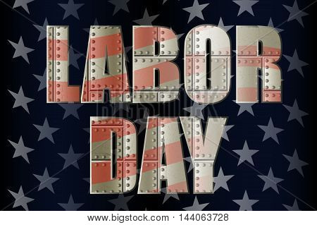 happy labor day, inscription with metal texture with rivets, in the colors of the American flag