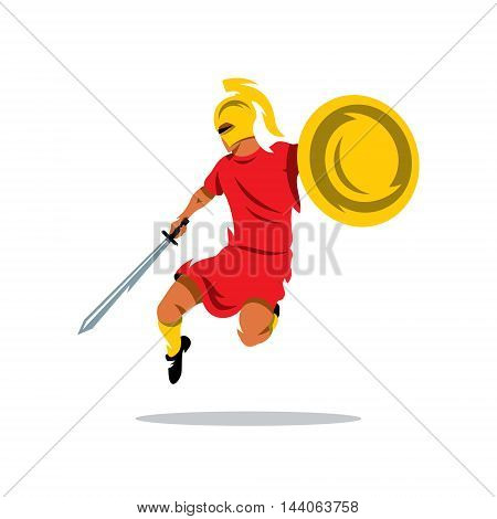 Man with a shield and sword in a jump attack. Isolated on a white background