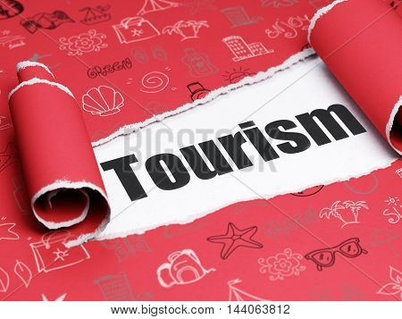 Tourism concept: black text Tourism under the curled piece of Red torn paper with  Hand Drawn Vacation Icons, 3D rendering