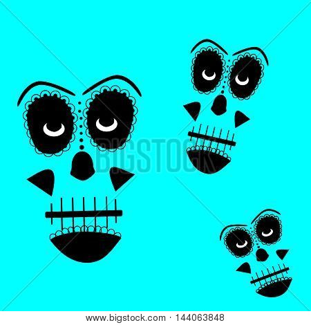 Skull vector background for fashion design, patterns, day of the dead, tattoos neon colors
