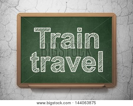Tourism concept: text Train Travel on Green chalkboard on grunge wall background, 3D rendering