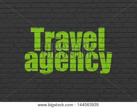 Vacation concept: Painted green text Travel Agency on Black Brick wall background