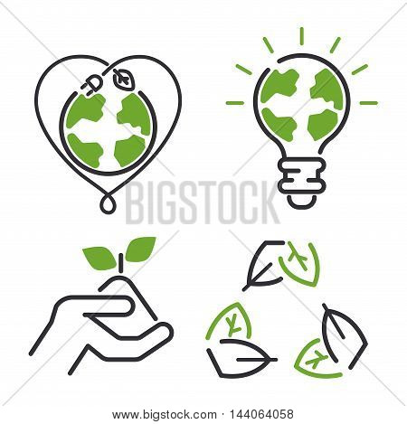 Vector green eco energy icons set. Energy icons power set battery oil environment nature. Nuclear house atom renewable energy icons. Light bulb electricity water nature eco renewable industry.