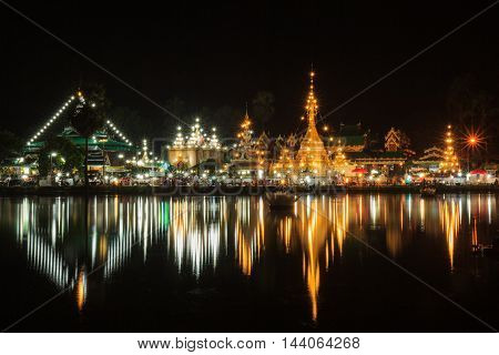 Wat Jong Klang in dark night and reflection at Maehongsonprovince North of Thailand