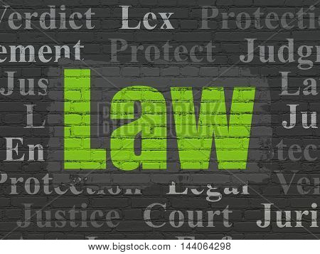 Law concept: Painted green text Law on Black Brick wall background with  Tag Cloud
