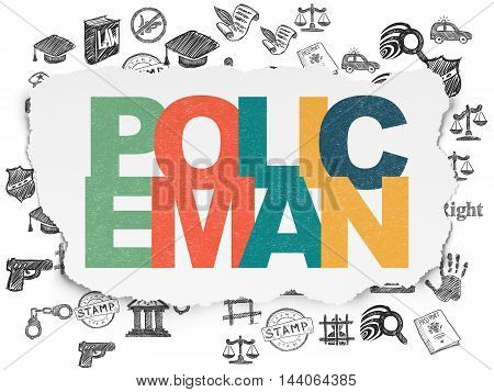 Law concept: Painted multicolor text Policeman on Torn Paper background with  Hand Drawn Law Icons