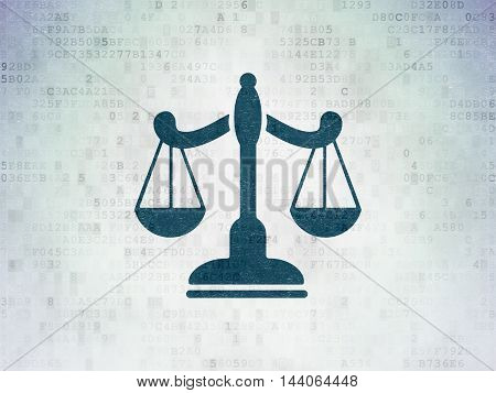 Law concept: Painted blue Scales icon on Digital Data Paper background
