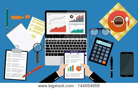 Businessman holding paper sheet in hands, paperwork, consultant, financial audit, financial research report, auditing tax process, data analysis, seo analytics, market stats calculate in vector