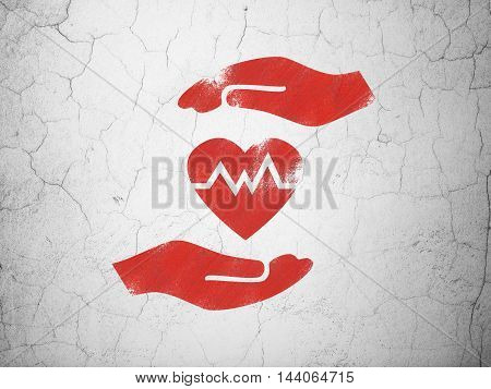 Insurance concept: Red Heart And Palm on textured concrete wall background
