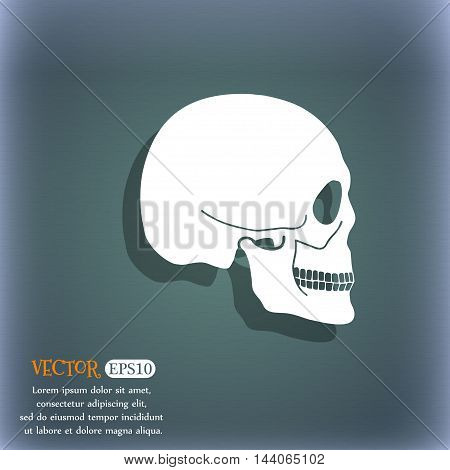 Skull Icon. On The Blue-green Abstract Background With Shadow And Space For Your Text. Vector