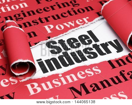 Manufacuring concept: black text Steel Industry under the curled piece of Red torn paper with  Tag Cloud, 3D rendering