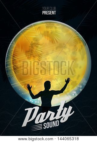 Party dance poster vector background template with moon and DJ silhouette.