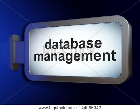 Software concept: Database Management on advertising billboard background, 3D rendering
