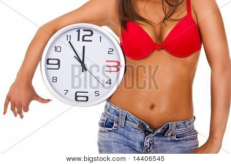 Sexy Woman With Clock